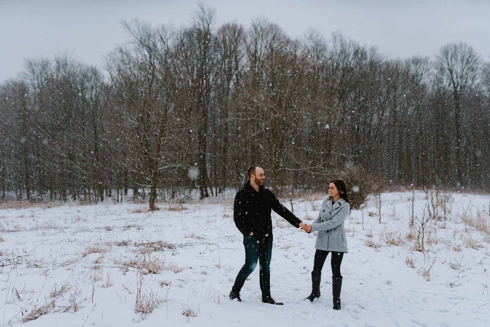snowy winter detroit engagement session